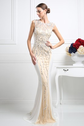 f1f01a6ef98 Sheath Long Scoop-Neck Sleeveless Tulle Illusion Dress With Crystal  Detailing