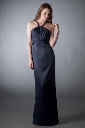 Sheath Stred Ruched Sleeveless Satin Bridesmaid Dress