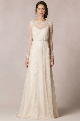 Lace long sleeve wedding dresses lace wedding gowns ucenter dress sheath floor length jewel neck long sleeve lace wedding dress with appliques and junglespirit Gallery