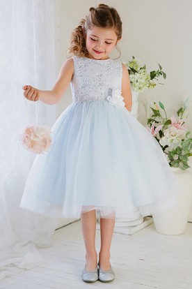 Blue flower girl dresses flower girl dresses shop by color floral tea length tiered tullelace flower girl dress mightylinksfo