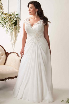 33b51179050 Sheath V-Neck Appliqued Cap-Sleeve Chiffon Plus Size Wedding Dress With  Ruching And ...