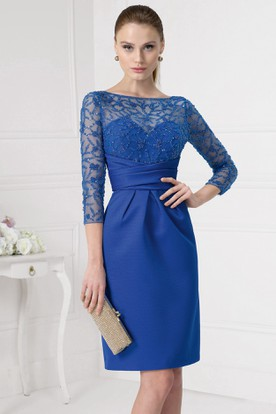Short Sequined 3 4 Sleeve Bateau Neck Satin Prom Dress With Illusion Back
