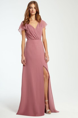 V Neck Ruched Sleeveless Chiffon Bridesmaid Dress With Split Front