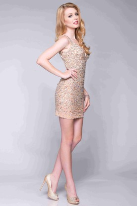 Gold Sequin Cocktail Dress