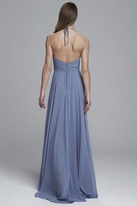 077bc97a1449 ... Sheath V-Neck Floor-Length Ruched Sleeveless Chiffon Bridesmaid Dress