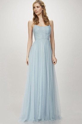 Spaghetti Ruched Sleeveless Tulle Bridesmaid Dress ...