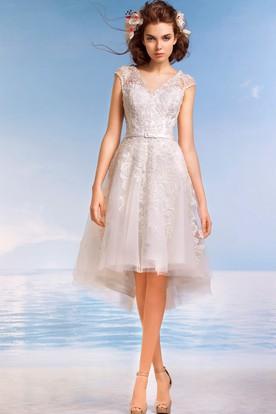 1de7e6ee894e7 A-Line Knee-Length V-Neck Cap-Sleeve Illusion Lace Dress With ...