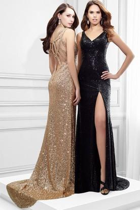 304ec36592d9 Sleeveless V-Neck Split-Front Sequin Prom Dress With Straps ...