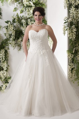 ca28d02b6fa Ball Gown Long Sweetheart Lace Tulle Plus Size Wedding Dress With Appliques  ...
