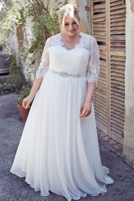 0526180a0ca6 Jeweled Half-Sleeve V-Neck Chiffon Plus Size Wedding Dress With Pleats