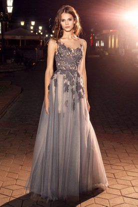5e20a5bf88 A-Line Maxi Bateau Sleeveless Tulle Low-V Back Dress With Appliques And  Pleats ...