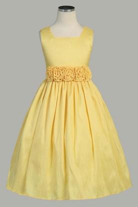 Yellow flower girl dresses flower girl dresses shop by color tea length tiered taffeta flower girl dress mightylinksfo