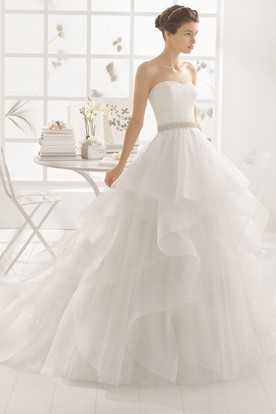 Ball gown wedding dresses formal bridal gowns ucenter dress ball gown jeweled strapless organza wedding dress with lace and draping junglespirit Images