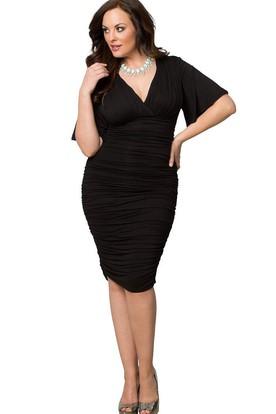 368cdbfbfe5 Short-sleeved V-neck Knee-length Ruched Dress ...