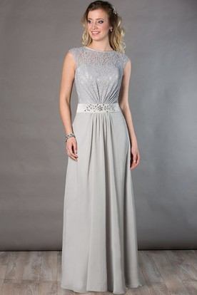 d7181745c22 Jewel Neck Cap Sleeve Lace Top Chiffon Long Mother Of The Bride Dress With  Crystal Waist