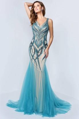 63f92b0a98e Mermaid V-Neck Sleeveless Tulle Low-V Back Dress With Beading And Pleats ...