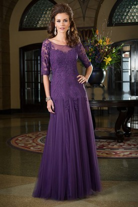 2659821d9aa Half-Sleeved Long Mother Of The Bride Dress With Dropped Waistline And  Appliques ...