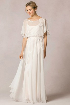 Sheath Scoop-Neck Floor-Length Poet-Sleeve Appliqued Chiffon Wedding Dress  With Pleats ... d940130d6f4f
