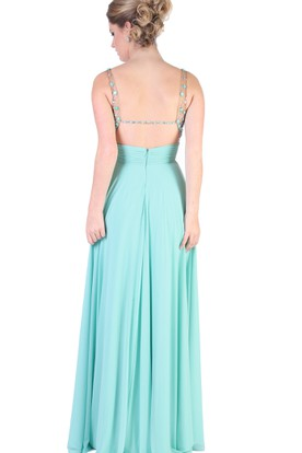 ... A-Line Sleeveless V-Neck Floor-Length Crystal Chiffon Evening Dress  With Pleats 558121d04