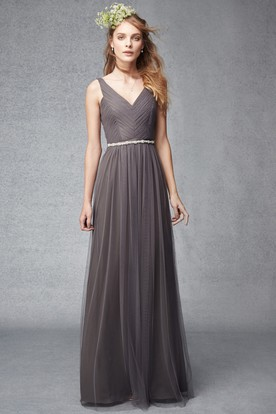 Sheath Ruched V Neck Sleeveless Floor Length Tulle Bridesmaid Dress With Waist Jewellery