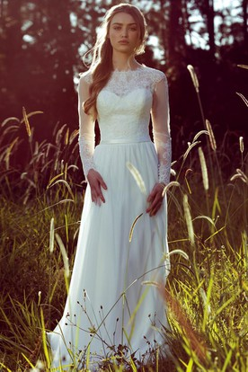 Sheath Long Sleeve Jewel Neck Chiffon Wedding Dress With Illusion