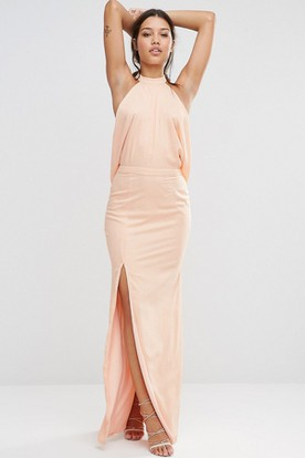 c46bbbd8ad2 Sheath High-Neck Sleeveless Long Split-Front Chiffon Bridesmaid Dress ...