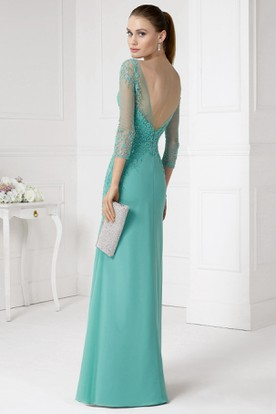 Sheath 3-4-Sleeve Beaded Jewel-Neck Long Jersey Prom Dress