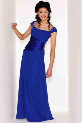 Long Strapless Ruched Cap Sleeve Chiffon Bridesmaid Dress With Broach