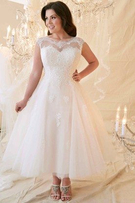 c8bdbd310c6 A-Line Tea-Length Scoop-Neck Cap-Sleeve Lace Tulle Plus Size Wedding ...
