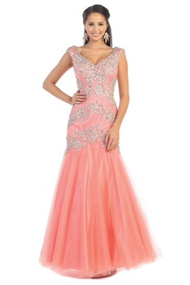 33387e3e686 Mermaid Long V-Neck Tulle Low-V Back Dress With Beading And Pleats ...