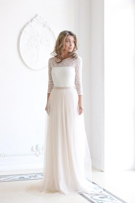 37b6eb59d82 Scoop Neck Long Sleeve Tulle Wedding Dress With Lace Bodice ...