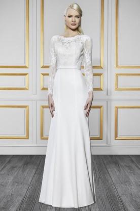 a1a679b828 Bateau Long Long-Sleeve Appliqued Chiffon Wedding Dress With Sweep Train  And V Back ...