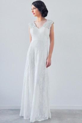 538250a8563e Appliqued Cap Sleeve V-Neck Lace Wedding Dress With Beading ...