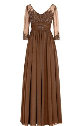 daf2ee34d57 3 4 Sleeved V-neck Chiffon Gown With Illusion Sleeves ...