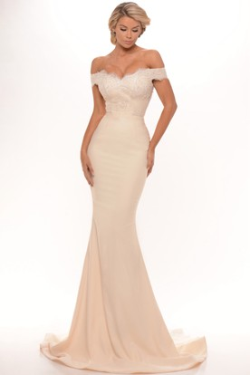 Trumpet Long Lace Off The Shoulder Jersey Prom Dress With Low V Back