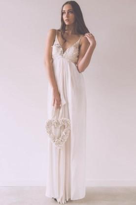 50794b17a0e784 Maxi Sheath Floral Spaghetti Sleeveless Empire Chiffon Wedding Dress ...