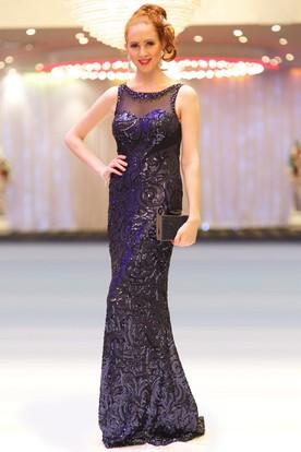 77ff259d220 Sheath Scoop-Neck Sleeveless Floor-Length Beaded Sequins Prom Dress ...
