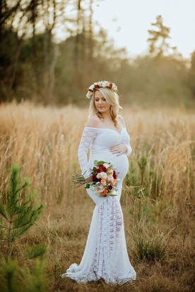 Maternity wedding dresses pregnant bridal dresses ucenter dress mermaid lace off the shoulder long sleeve pleated ruched maternity wedding dress junglespirit Image collections