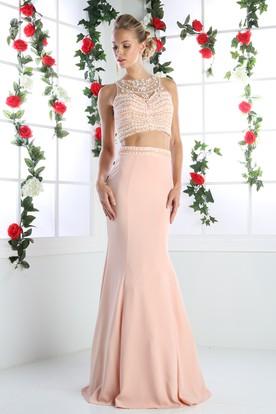 af6cf4fc883 Sheath Jewel-Neck Sleeveless Jersey Illusion Dress With Beading ...