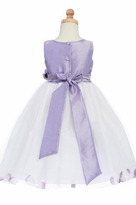163d0233e2b ... Tea-Length Floral Tulle Flower Girl Dress