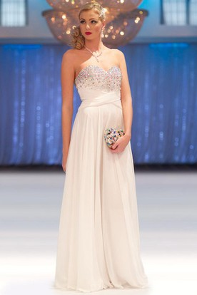 A-Line Floor-Length Sleeveless Beaded Sweetheart Chiffon Prom Dress With  Pleats ... 1f7ab3c93