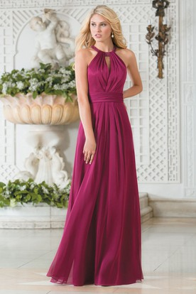 High Neck A Line Chiffon Bridesmaid Dress With Keyhole Back And Pleats