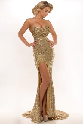 4af455f13e2f Appliqued Sweetheart Sleeveless Sequin Prom Dress With Split Front ...