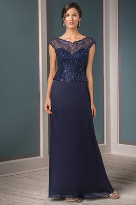 e93c75d74d9 Cap-Sleeved V-Neck Mother Of The Bride Dress With Sequins And Illusion  Style ...