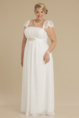 103e342dd96f Sheath Square-Neck Ruched Empire Cap-Sleeve Chiffon Plus Size Wedding Dress  With Waist