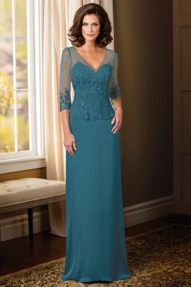 Sheath Liqued Illusion Sleeve V Neck Floor Length Chiffon Mother Of The Bride