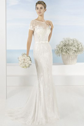 24131b3773 Floor-Length Scoop Lace Short-Sleeve Tulle Wedding Dress ...