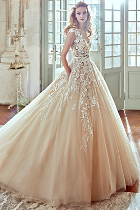 V Neck A Line Wedding Dress With Floral Lace Appliques And Pleated Tulle Skirt
