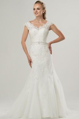 31b820628bb Sheath Cap-Sleeve V-Neck Jeweled Lace Wedding Dress With Bow ...