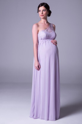Empire One Shoulder Lace Chiffon Bridesmaid Dress